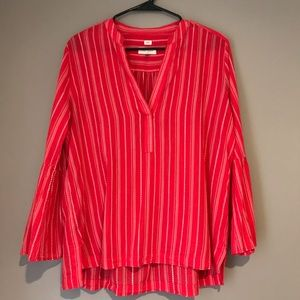 "LOFT ""The Softened shirt"" Deep coral tunic medium"